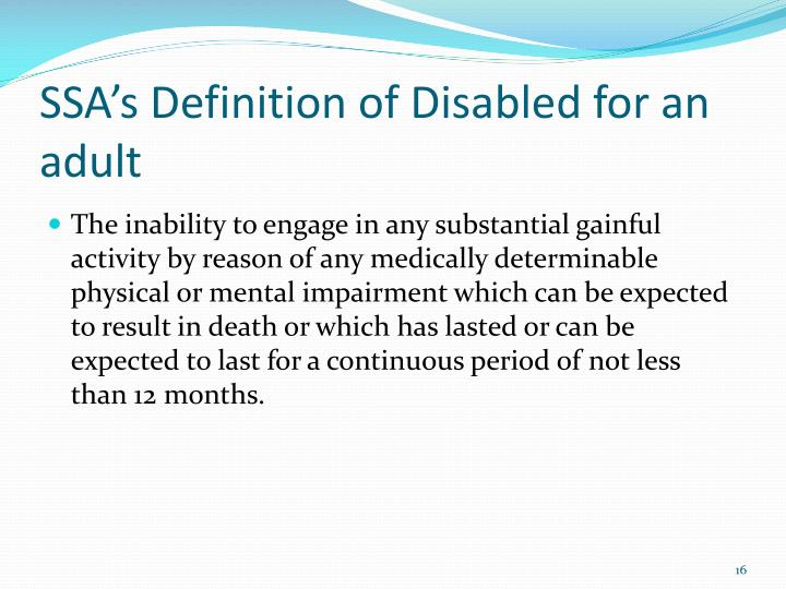 SSA's Definition of Disabled for an adult