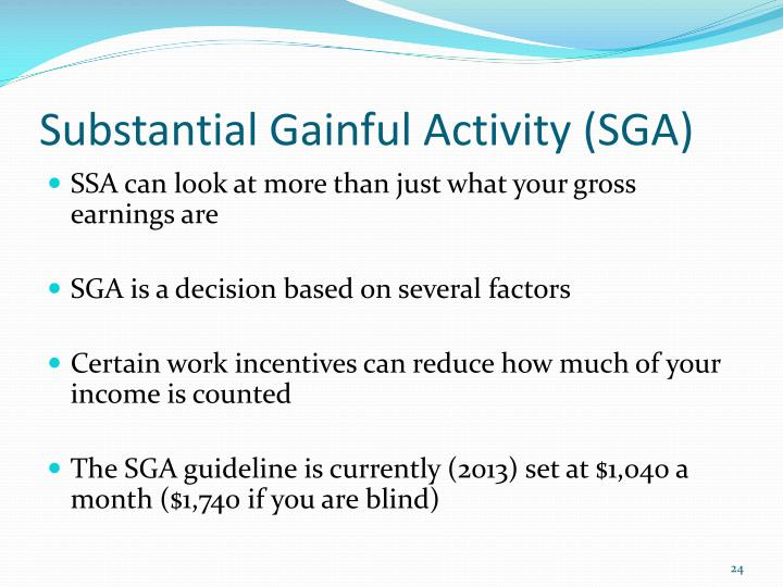 Substantial Gainful Activity (SGA)