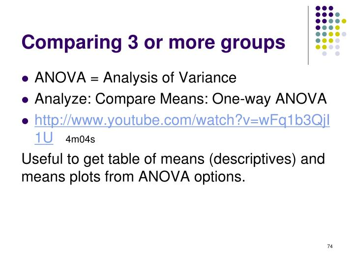 Comparing 3 or more groups