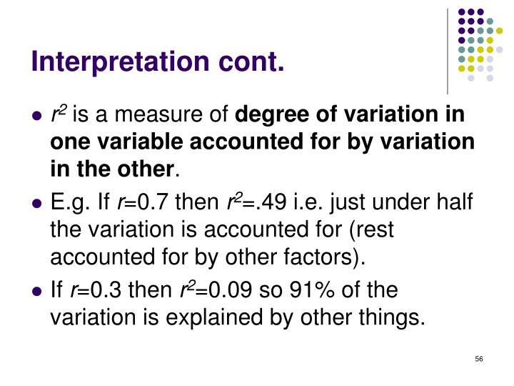 Interpretation cont.
