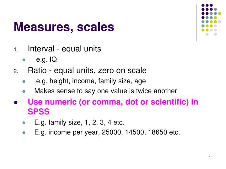 Measures, scales