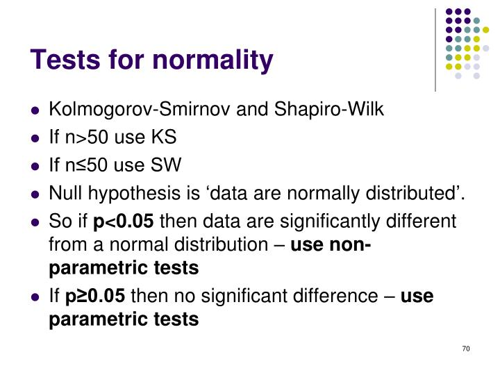 Tests for normality