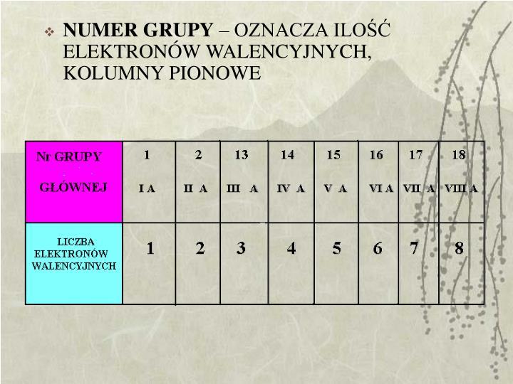 NUMER GRUPY