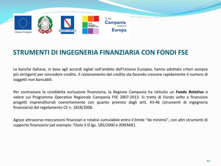 STRUMENTI DI INGEGNERIA FINANZIARIA CON FONDI FSE