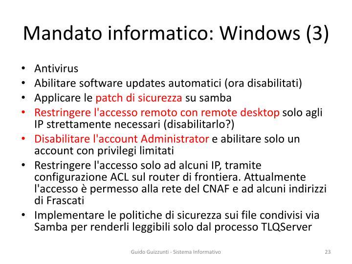 Mandato informatico: Windows (3)