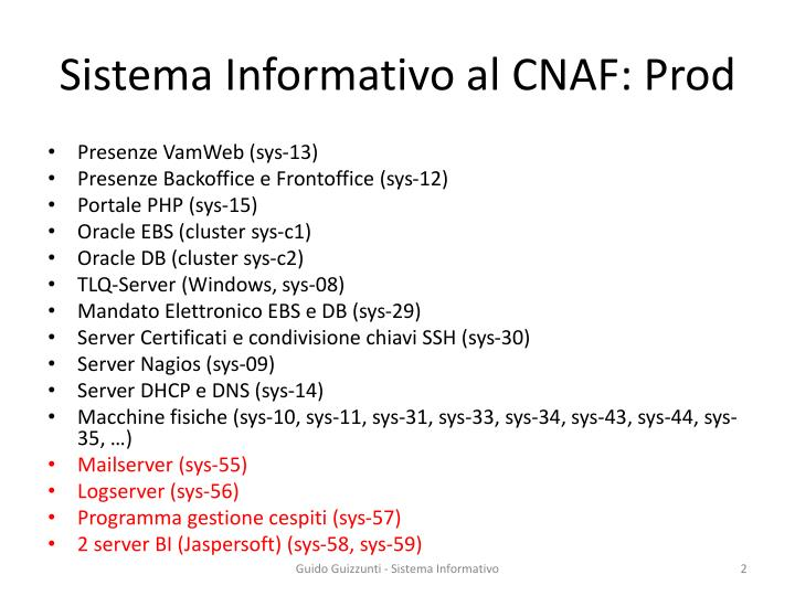 Sistema informativo al cnaf prod