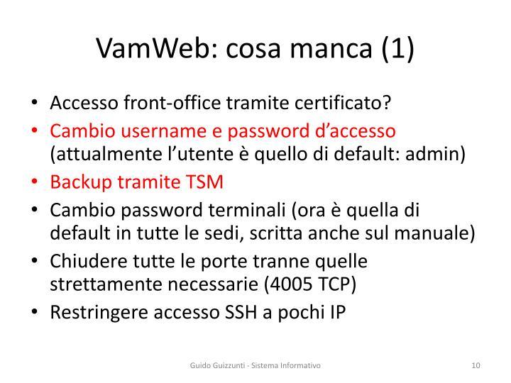 VamWeb: cosa manca (1)