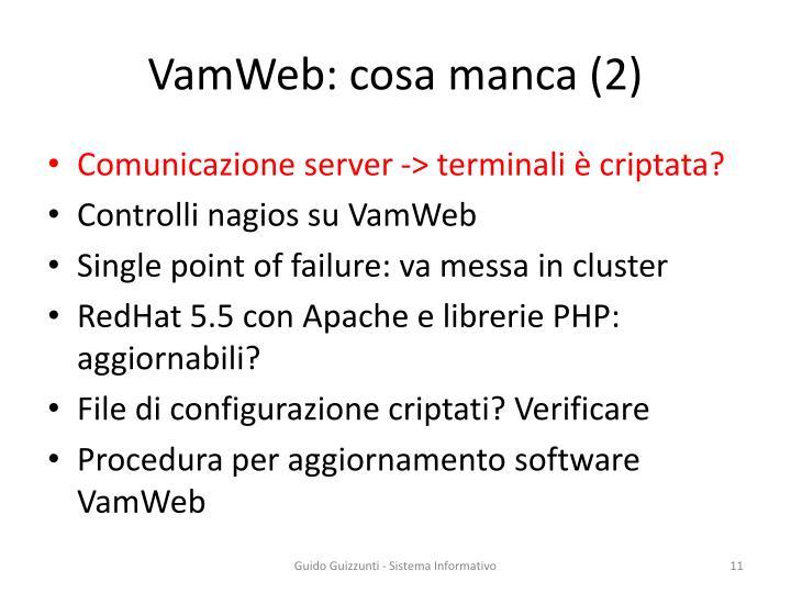 VamWeb: cosa manca (2)