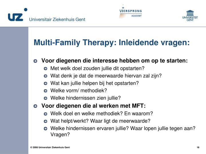 Multi-Family Therapy: Inleidende vragen: