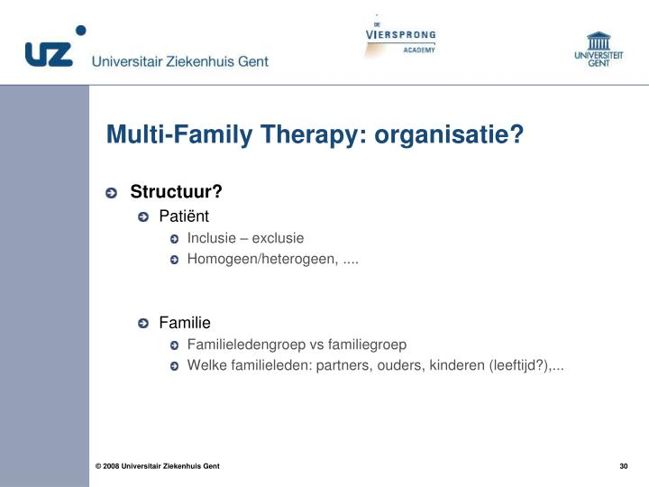 Multi-Family Therapy: organisatie?