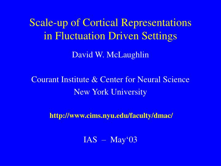 Scale up of cortical representations in fluctuation driven settings