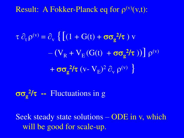 Result:  A Fokker-Planck eq for 