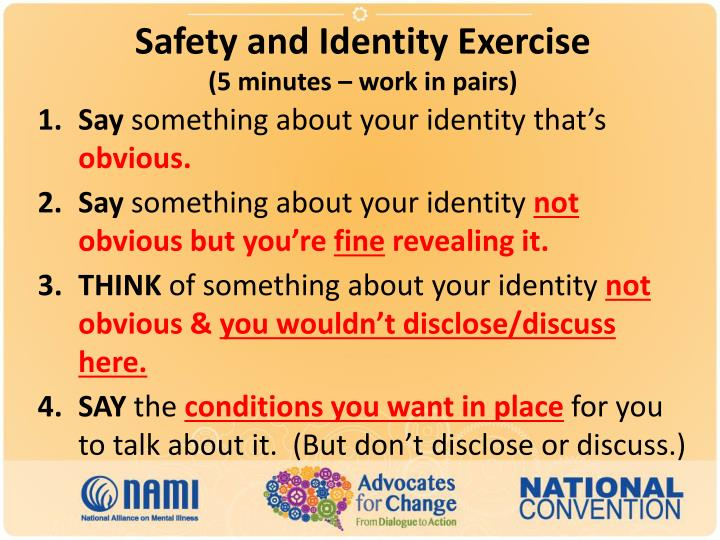 Safety and Identity Exercise