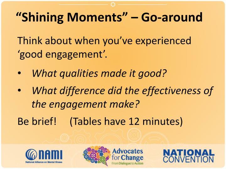 """Shining Moments"" – Go-around"