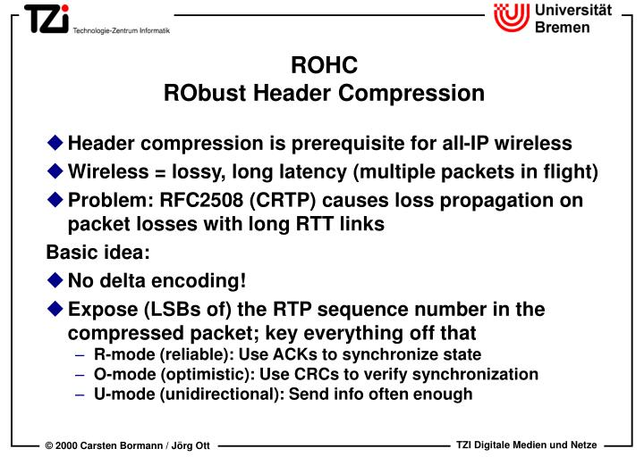 Rohc robust header compression