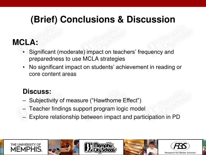 (Brief) Conclusions & Discussion