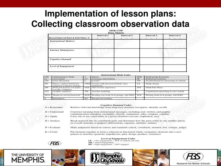 Implementation of lesson plans: