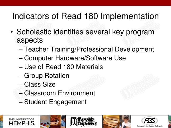 Indicators of Read 180 Implementation