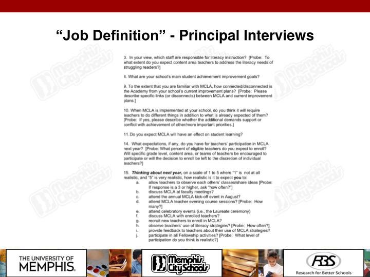 """Job Definition"" - Principal Interviews"