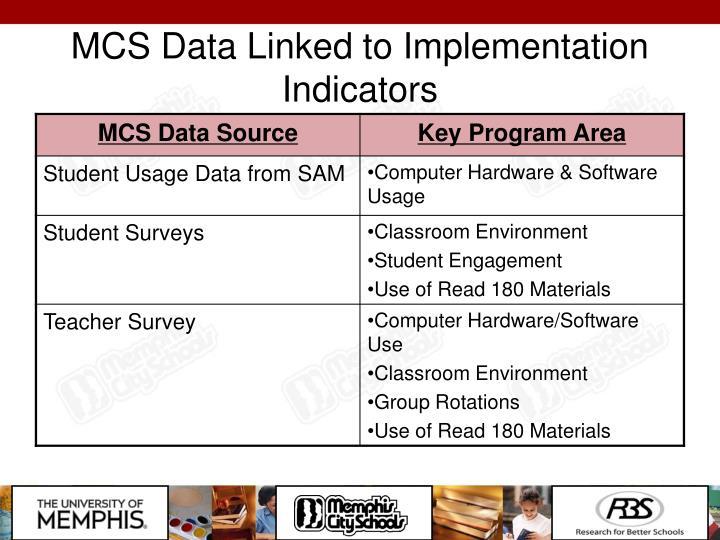 MCS Data Linked to Implementation Indicators