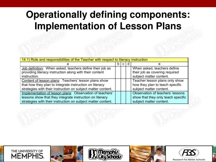 Operationally defining components:  Implementation of Lesson Plans