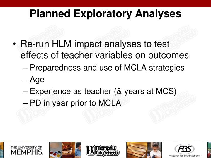 Planned Exploratory Analyses