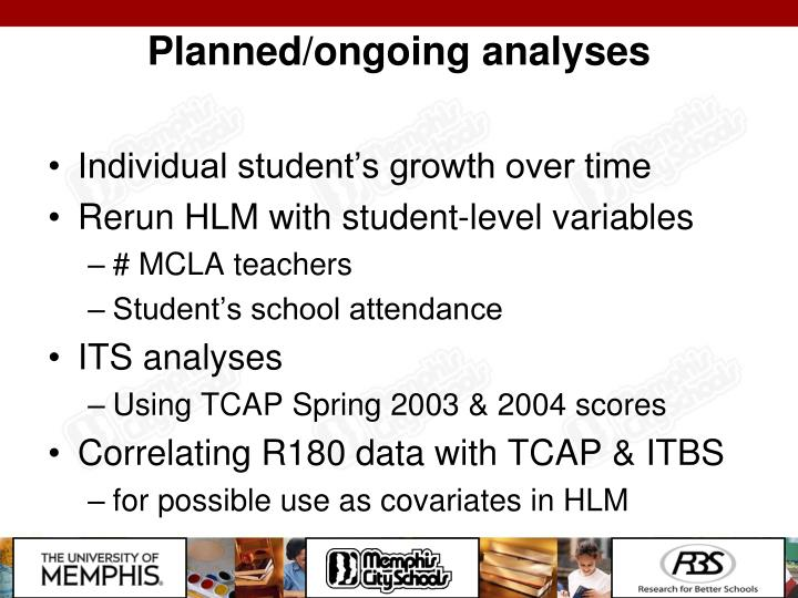 Planned/ongoing analyses