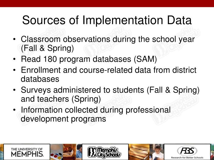 Sources of Implementation Data