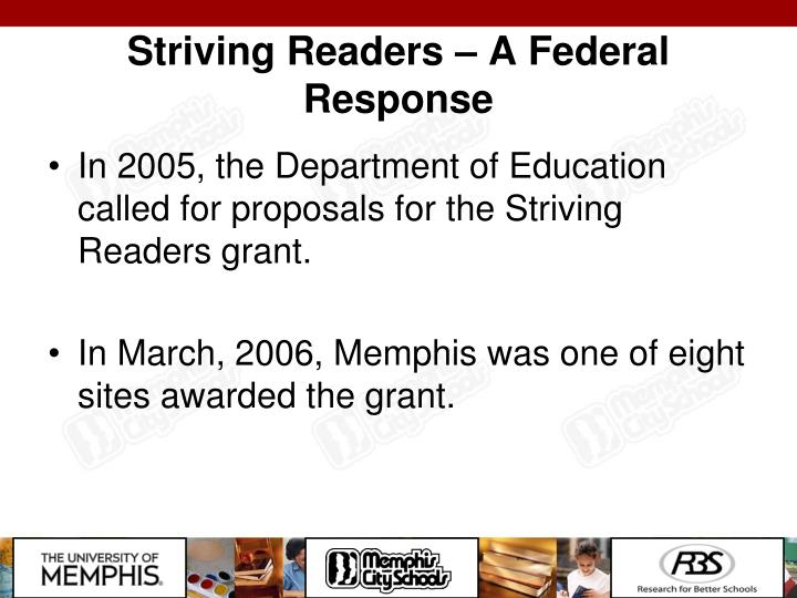 Striving Readers – A Federal Response