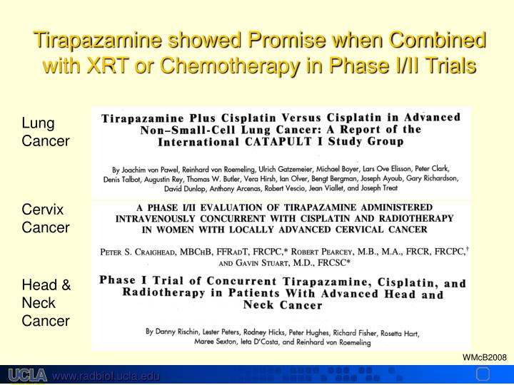 Tirapazamine showed Promise when Combined with XRT or Chemotherapy in Phase I/II Trials