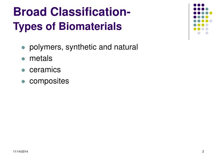 Broad classification types of biomaterials