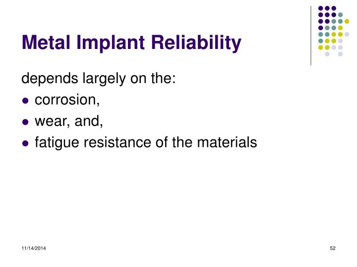 Metal Implant Reliability