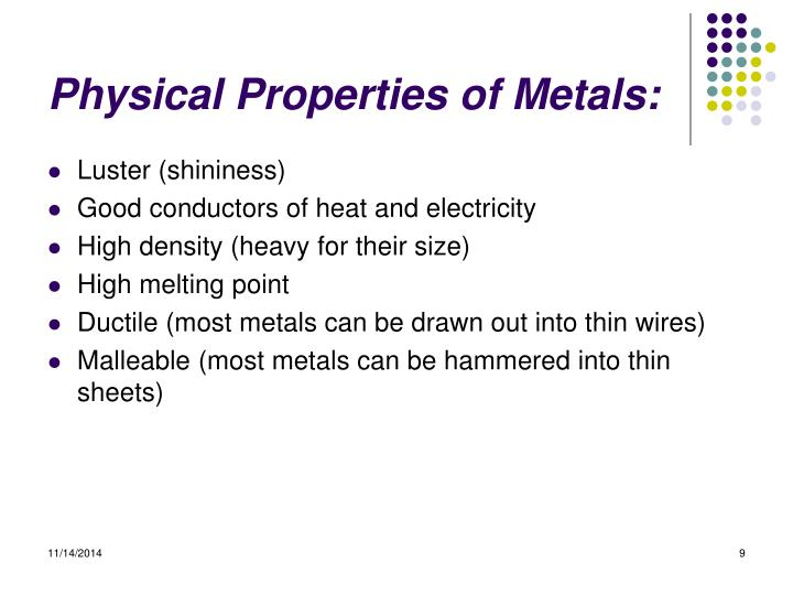 Physical Properties of Metals:
