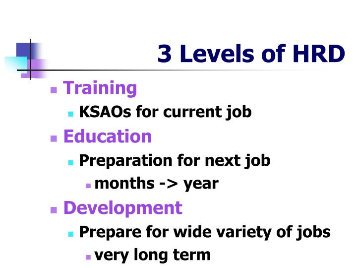 3 levels of hrd