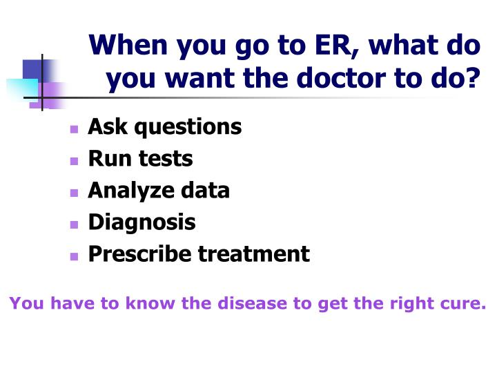 When you go to ER, what do you want the doctor to do?