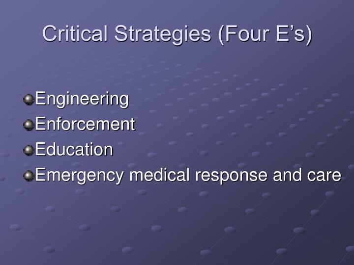 Critical Strategies (Four E's)