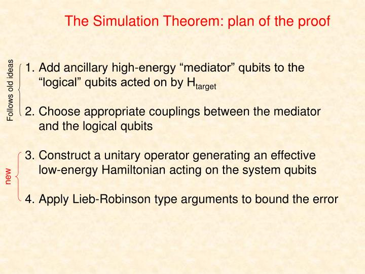 The Simulation Theorem: plan of the proof