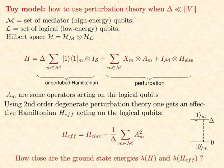 unpertubed Hamiltonian