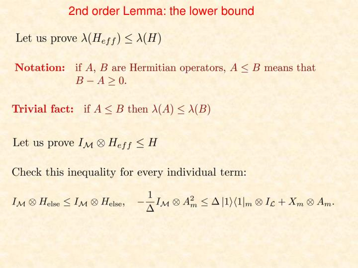 2nd order Lemma: the lower bound