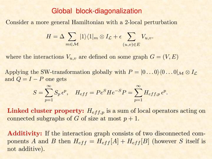 Global  block-diagonalization
