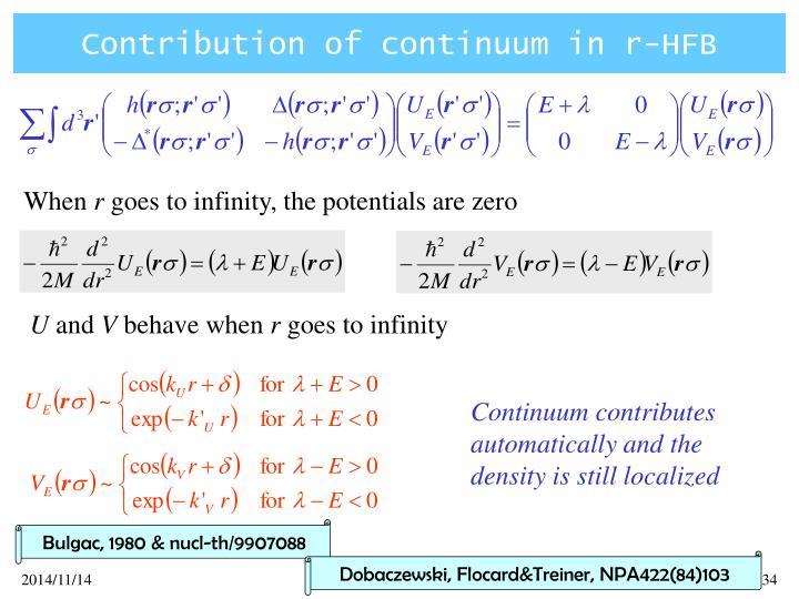 Contribution of continuum in r-HFB