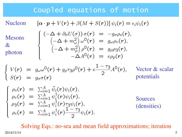 Coupled equations of motion