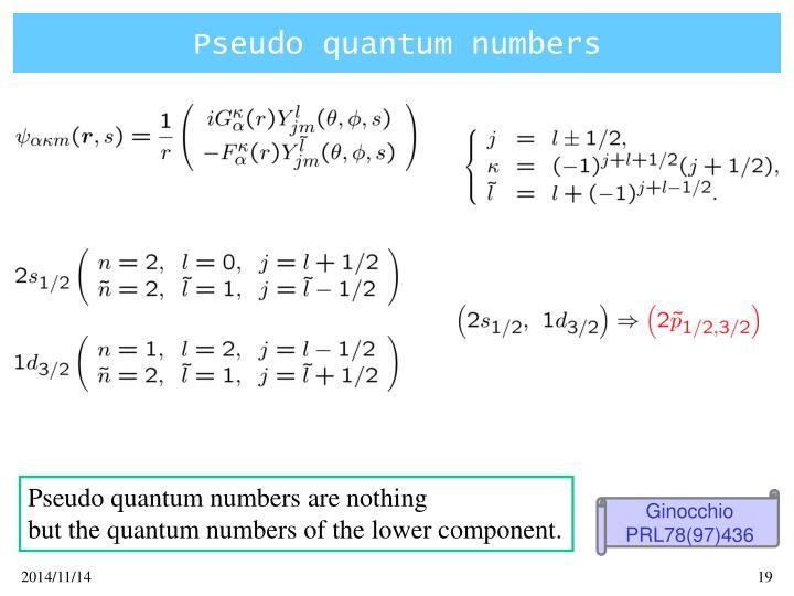 Pseudo quantum numbers