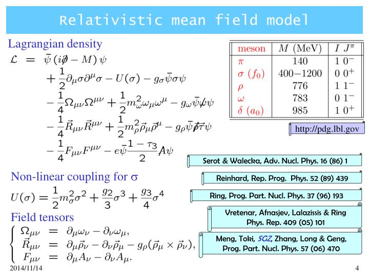 Relativistic mean field model