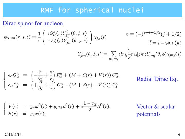 RMF for spherical nuclei