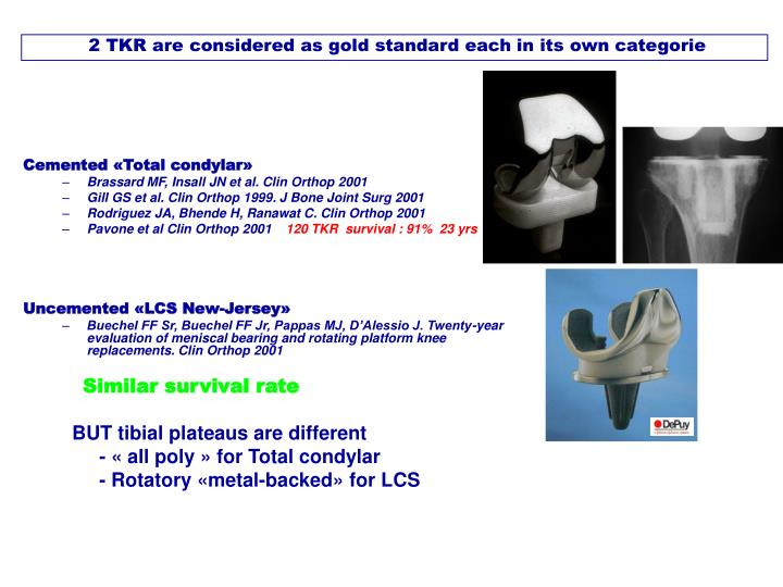 2 TKR are considered as gold standard each in its own categorie