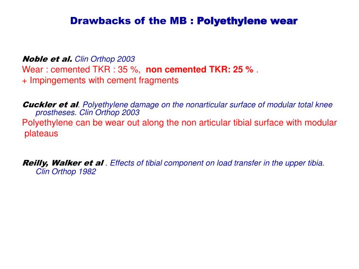Drawbacks of the MB :