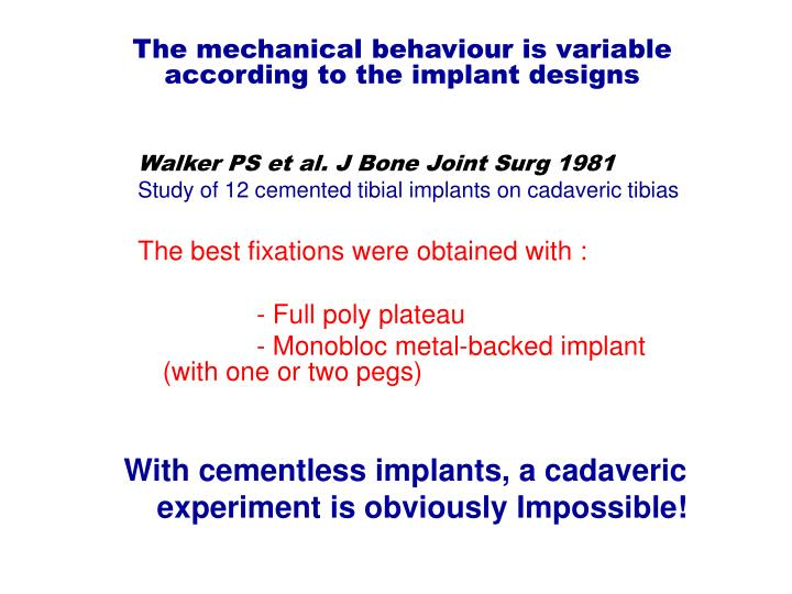 The mechanical behaviour is variable according to the implant designs