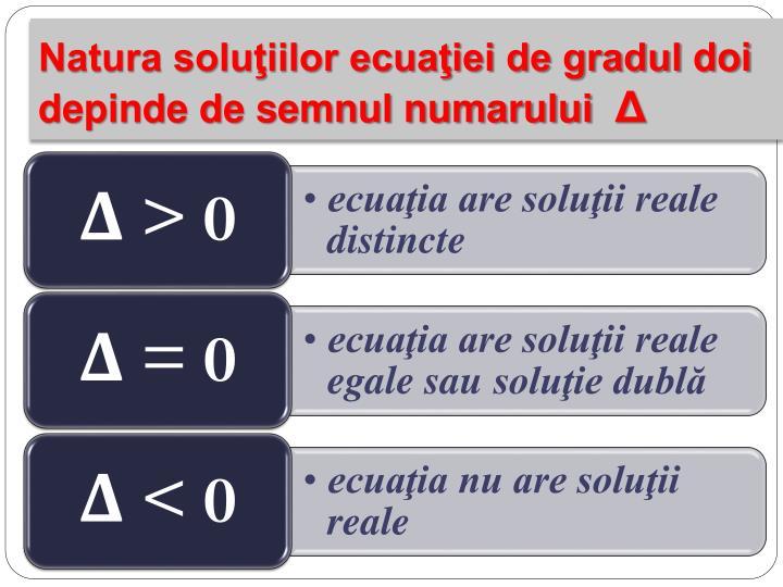 Natura soluţiilor ecuaţiei de gradul