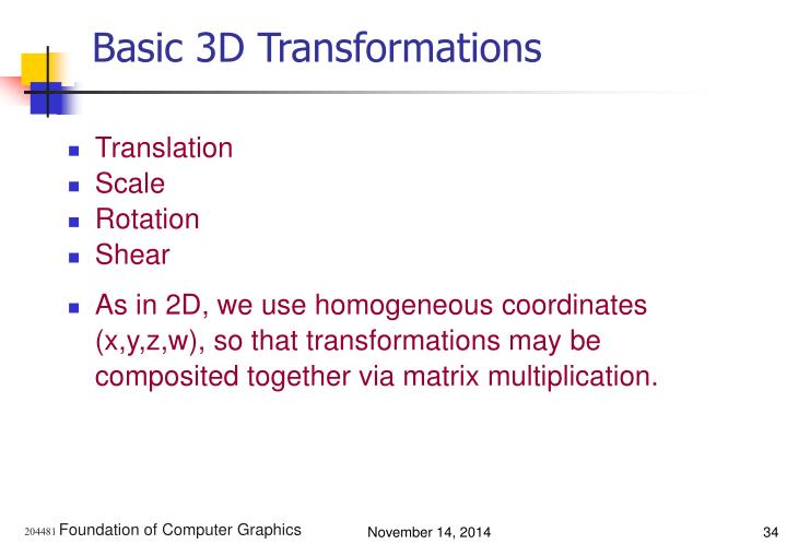Basic 3D Transformations